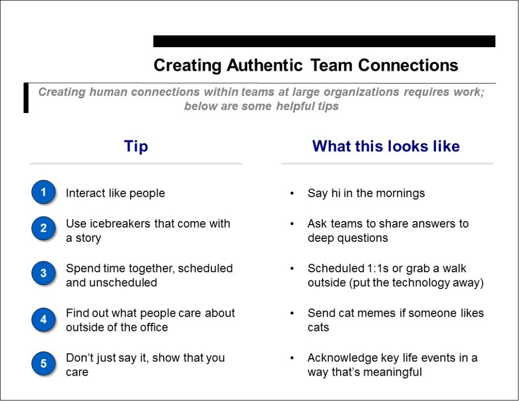 Creating Authentic Team Connections